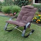 Folding Rocking Chair with Extendable Footrest and Removable