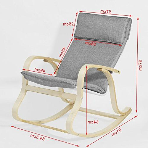 Haotian FST15-DG, Comfortable Rocking Chair, Relax Chair with Fabric Cushion