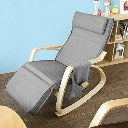 Haotian FST18-DG, Comfortable Relax Rocking Chair, Recliners Adjustable & Side