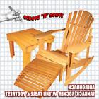 FULL SIZED ADIRONDACK FANBACK ROCKING CHAIR W/TABLE AND FOOT