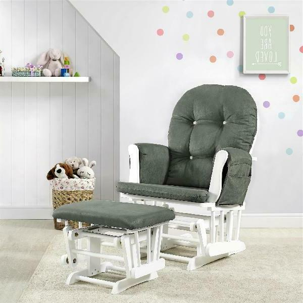 glider and ottoman white finish dark gray