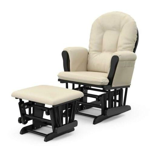 glider ottoman set rocking chair black beige