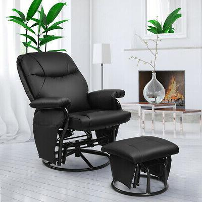 Glider Recliner Swivel Rocking Chair PU Leather Office w/