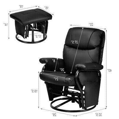 Glider Recliner Swivel Rocking Chair PU Leather Home Office w/ Ottoman Black