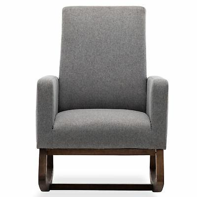 Gray Chair Upholstered Fabric Back Armchair
