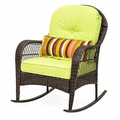 Green Outdoor Wicker Rocking Chair for Patio/Porch w/Weather