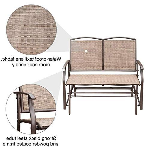 SunLife Outdoor 2 Person, Loveseat Bench Chair with Brown Seatback