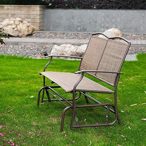 SunLife Outdoor 2 Patio Furniture Loveseat Bench with Brown Rattan Seatback