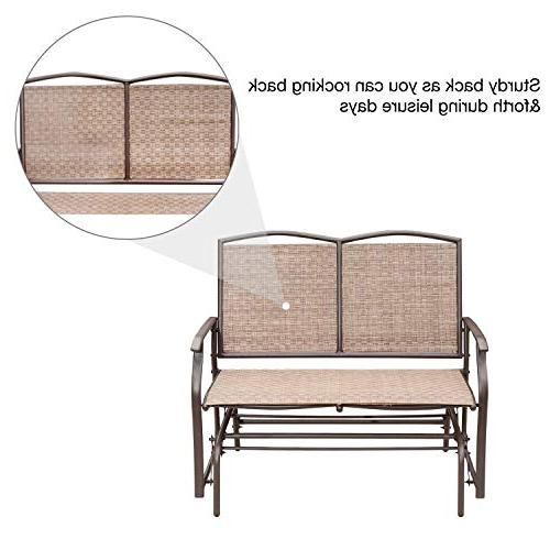 SunLife 2 Person, Patio Loveseat Rocking with Brown Seatback