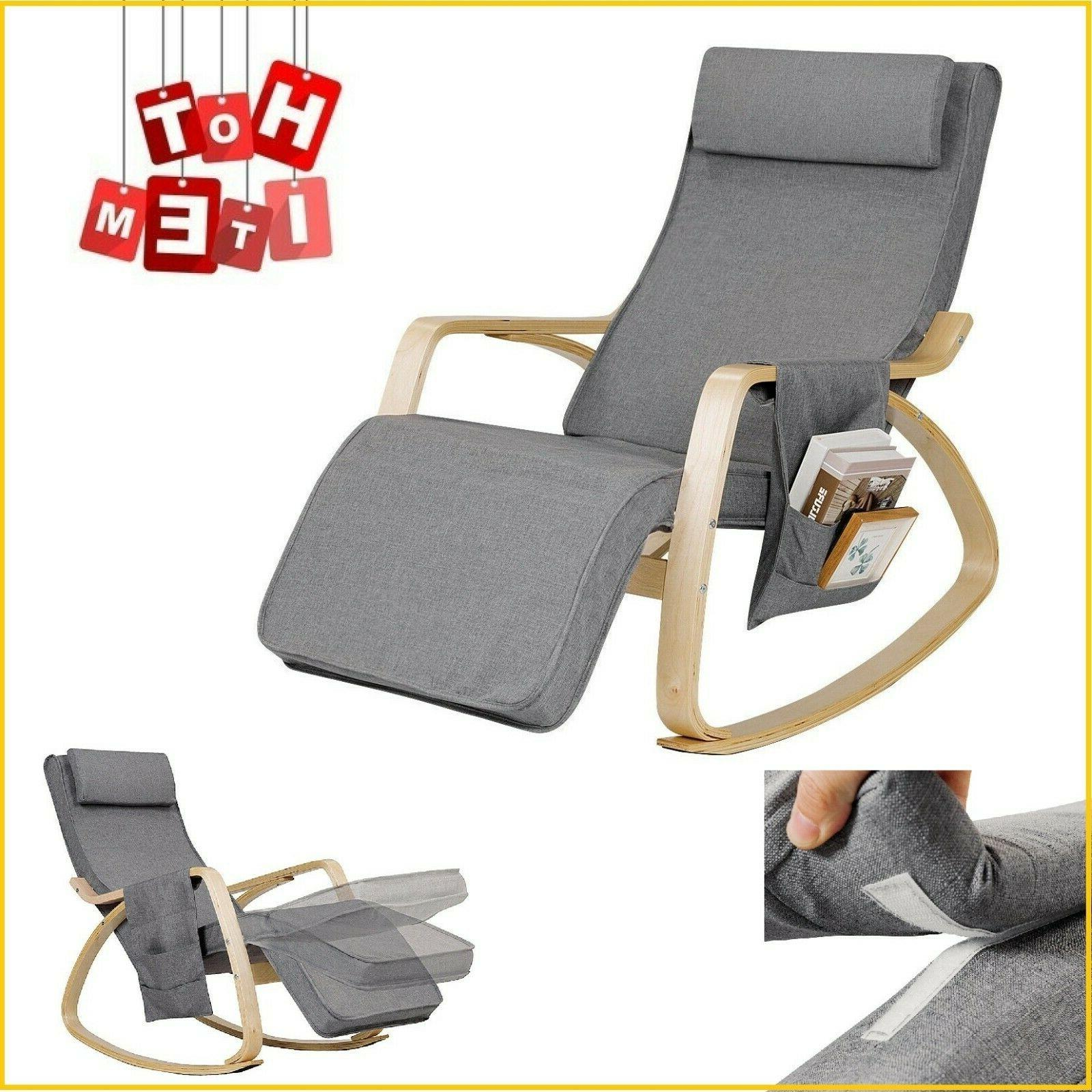 Indoor Rocking Chair Cushioned Armchair Lounge Chairs Leisur