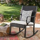 August Grove Kampmann Outdoor Wicker Rocking Chair with Cush