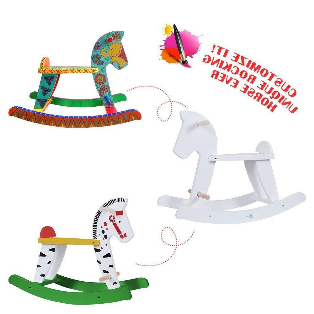 kids diy white pony rocking horse toy