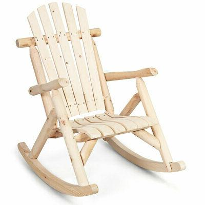Log Rocking Chair Pine and Fir Wood Patio Rocker w/Armrest P