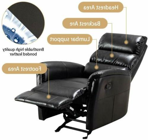 Manual Rocker Chair Recliner Air Leather Pad Seat