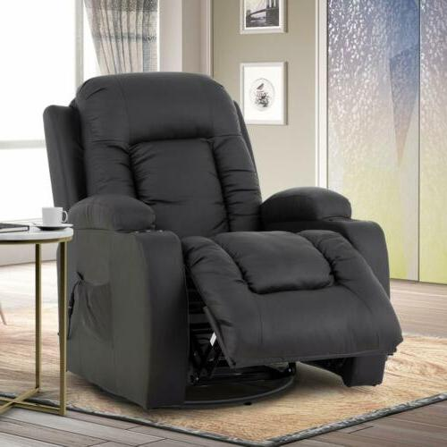 Massage Chair Recliner Seat w/ Cup Holders Brown