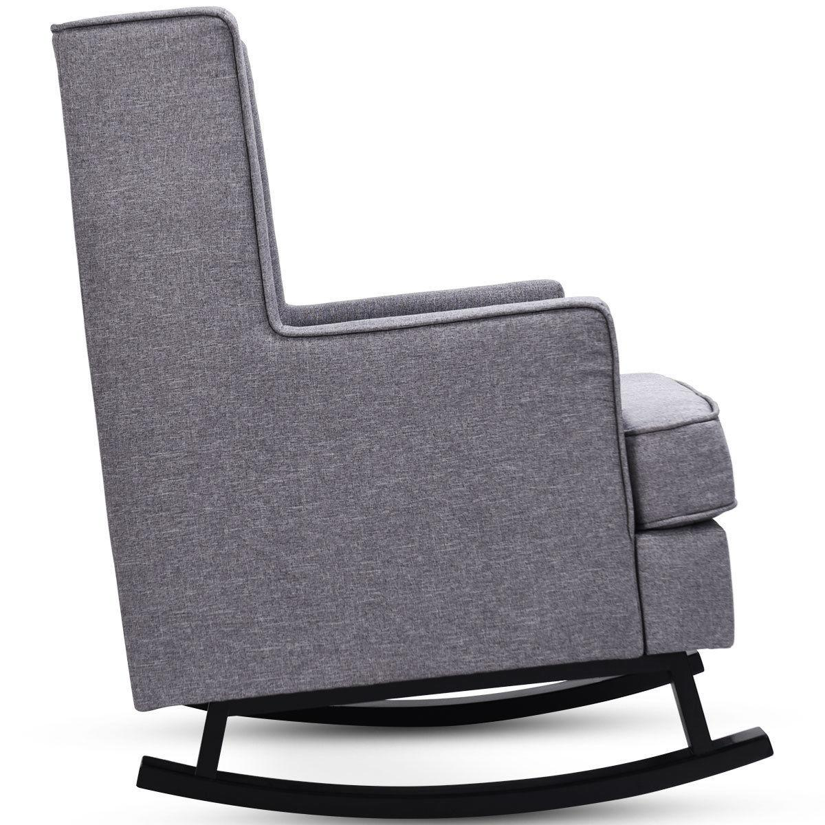 Mid-Century Fabric Rocking Chair Button-Tufted Gray