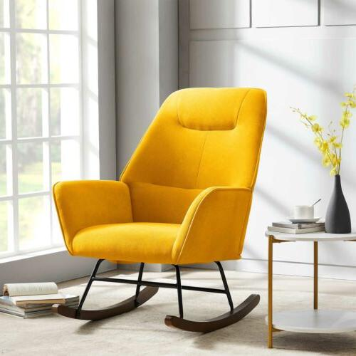 Tribesigns Rocking Accent Chair Ergonomic Shape Wooden