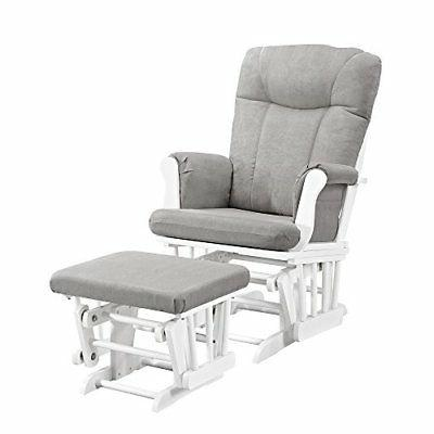 Angel Line Monterey Glider & Ottoman, White with Gray Cushio