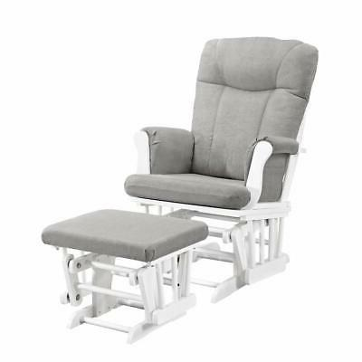 monterey glider ottoman white with gray cushion