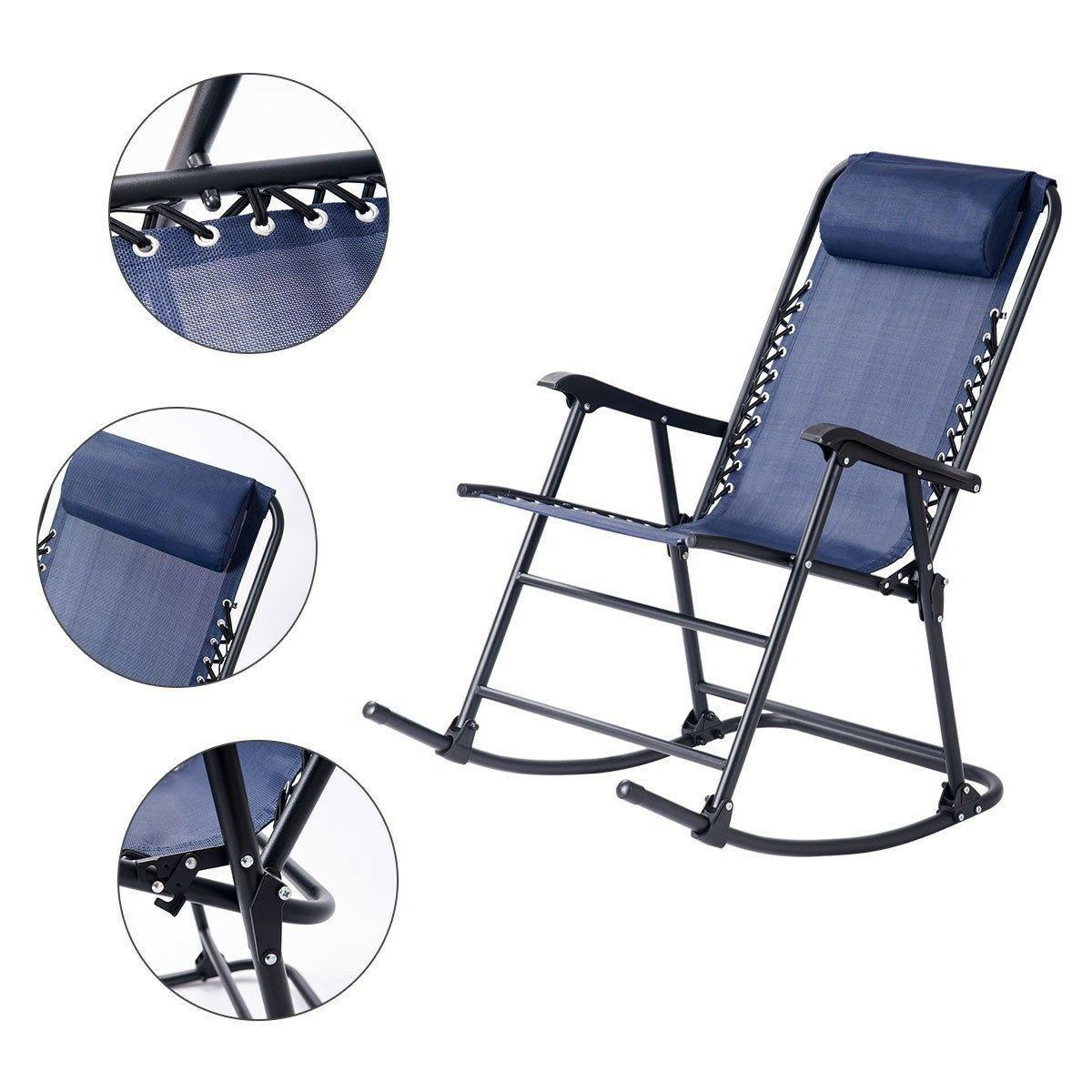 New Outdoor Patio Headrest Folding Zero Rocking