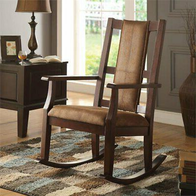 NEW HENSLEY ESPRESSO FINISH WOOD BROWN MICROFIBER ROCKING CH