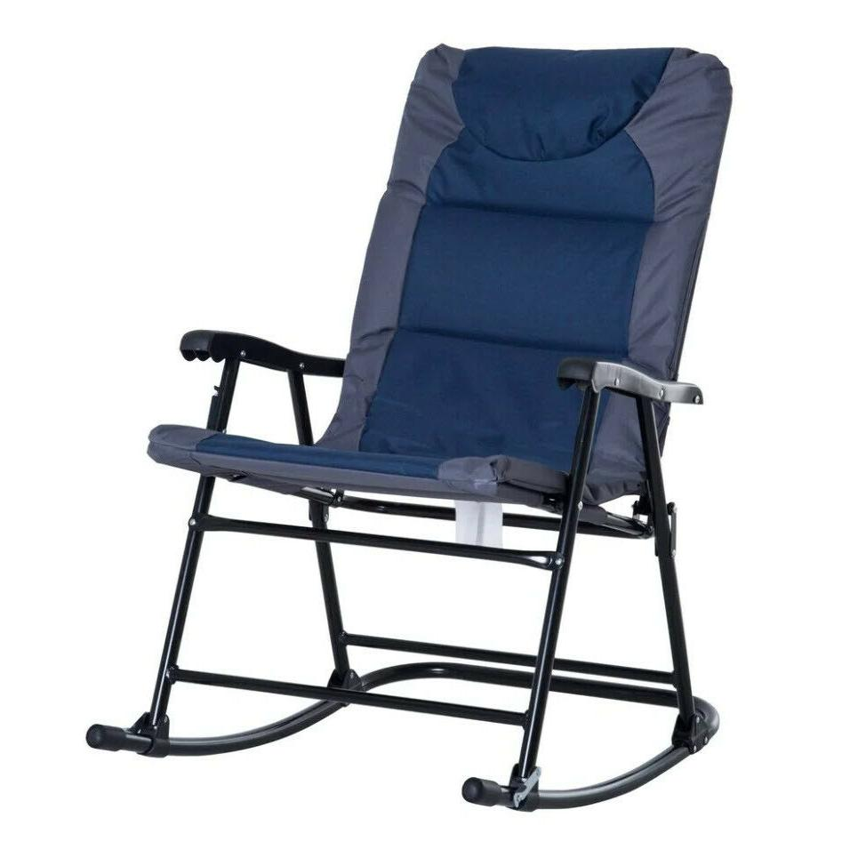 OUTDOOR ROCKING CHAIR Blue Gray Set of 2