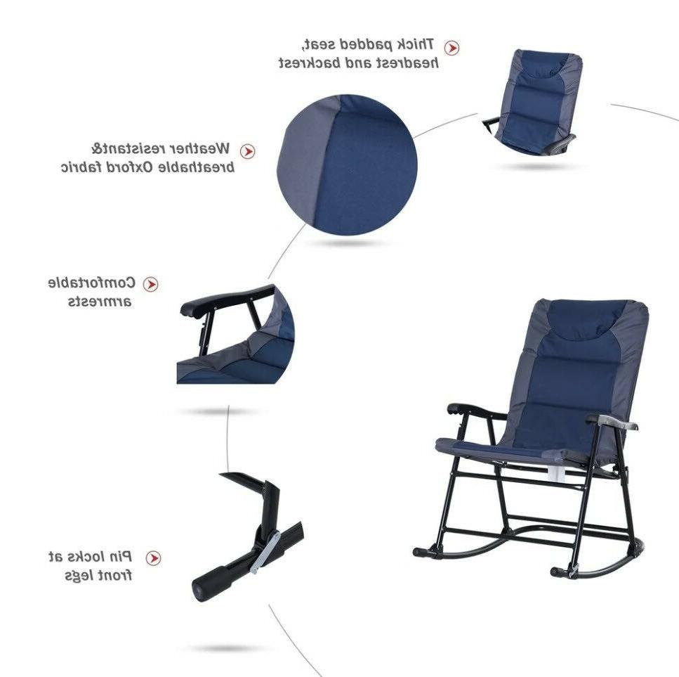 OUTDOOR CAMPING ROCKING CHAIR Blue Set 2
