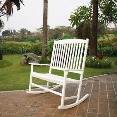 Double Porch Rocking Chair White Color 2 Seats Wide Wooden R