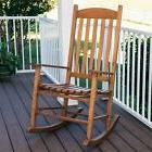 Outdoor/Inside Natural Wood Slat Rocking Chair Eucalyptus Wo