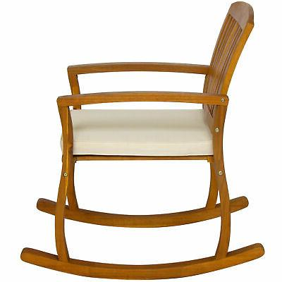 Outdoor Patio Wood Rocking Chair W/ Seat Cushion