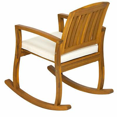 Outdoor Patio Acacia Wood Rocking W/ Seat