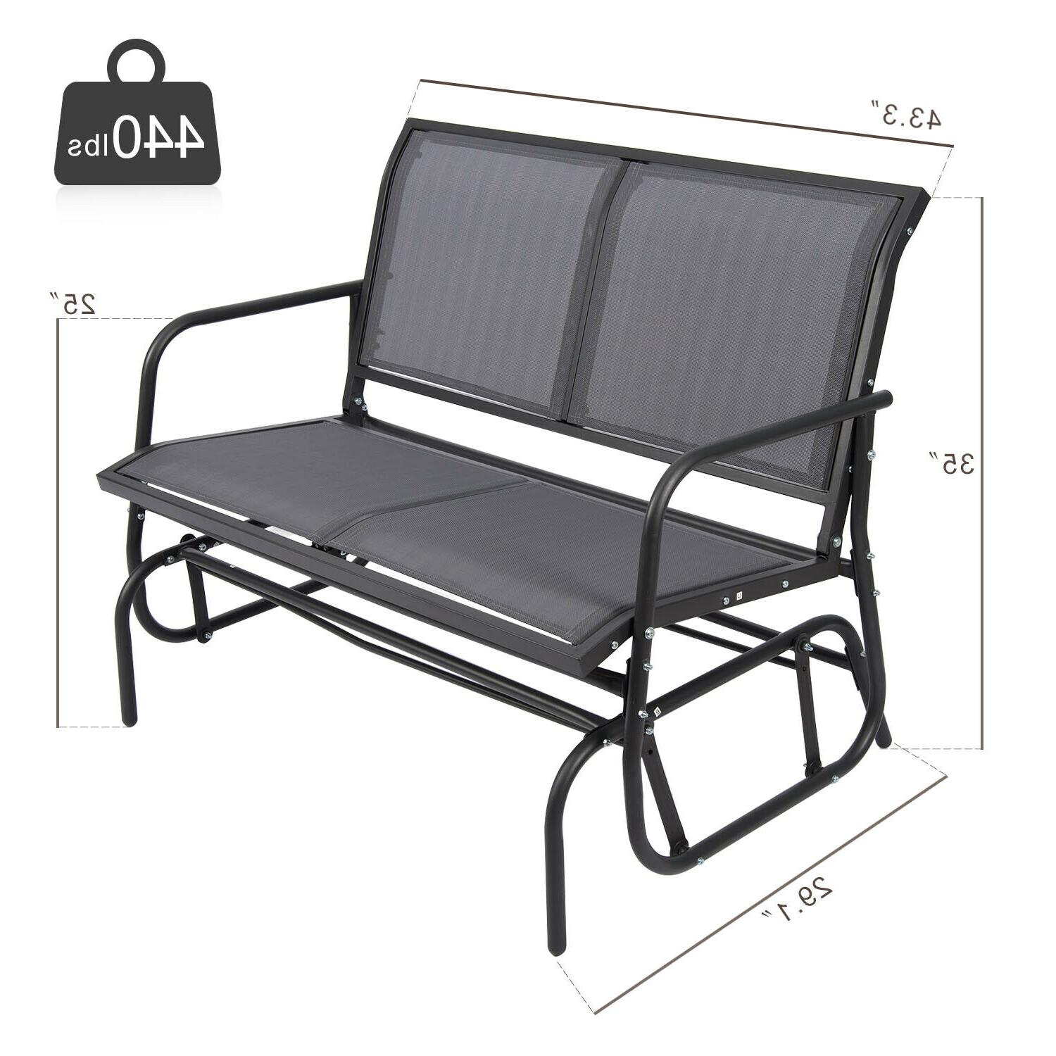 Outdoor Patio Glider Bench Double 2 Porch US