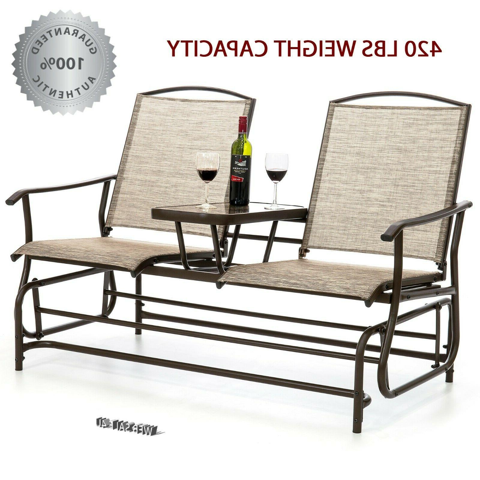 Outdoor Patio Glider Rocking Bench 2 Person Loveseat Table P