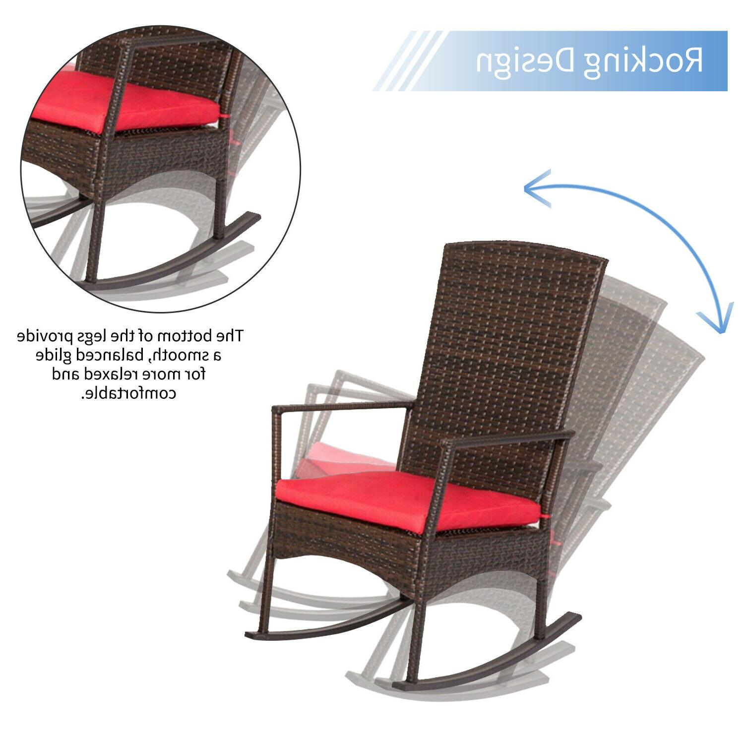 Outdoor Wicker Rocking Chair Chair Furniture W/ Red