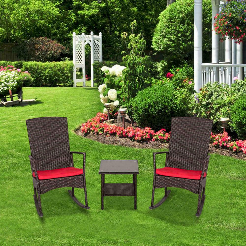 Outdoor Wicker Rocking Chair Set Furniture Red