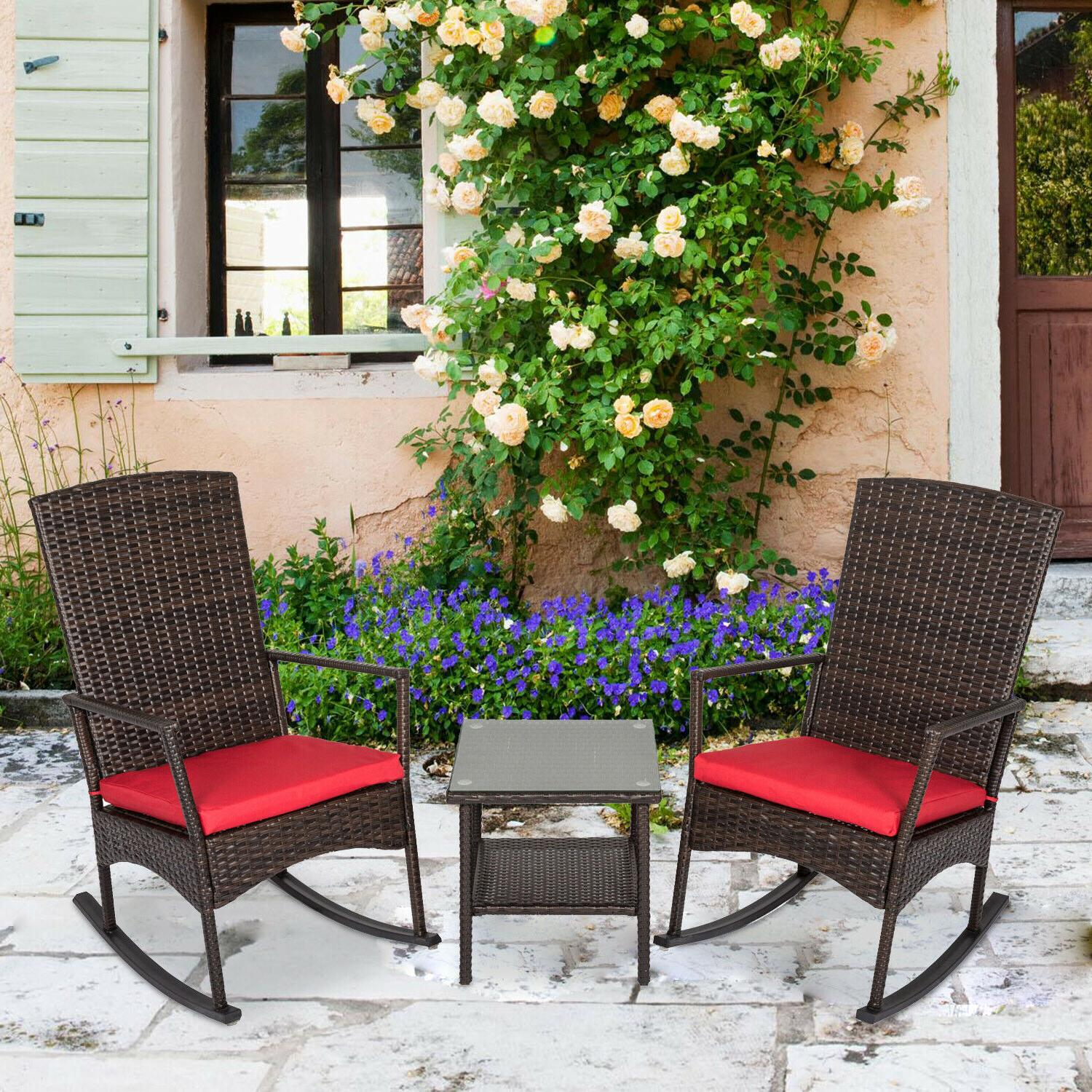 3 Pcs Outdoor Rattan Wicker Rocker Lounge Rocking Chair Pati
