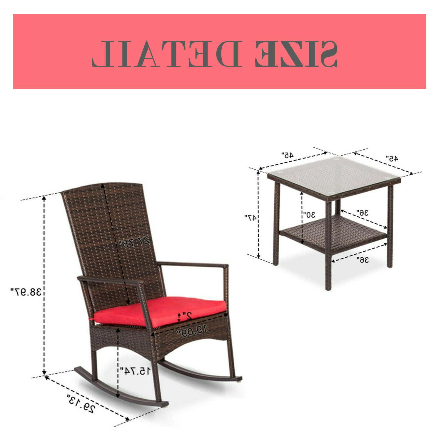 Outdoor Patio Furniture W/ Red Cushion