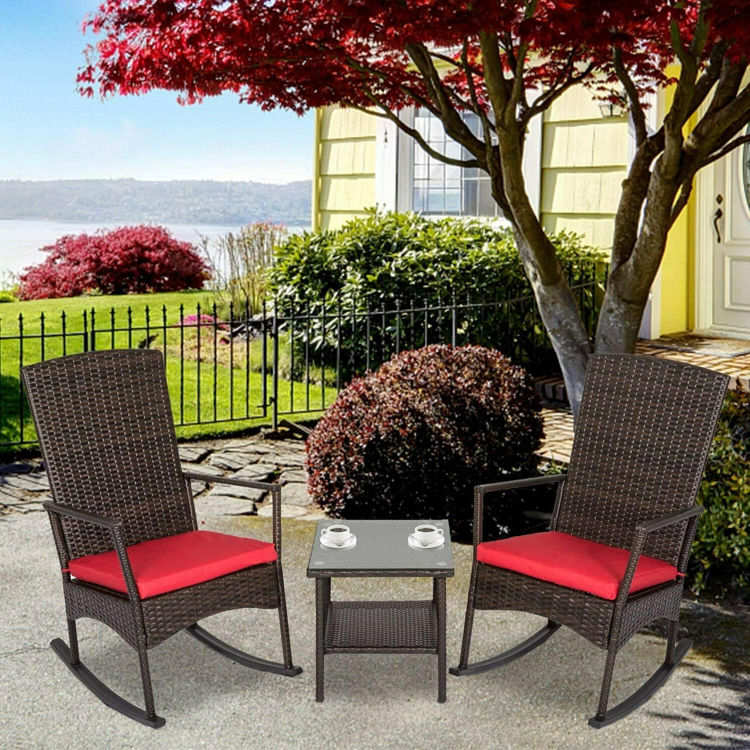 outdoor patio wicker rocking chair set lounge