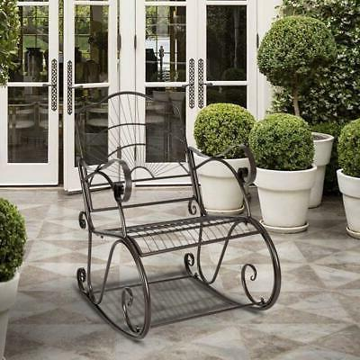 Porch Rocking Chair Wrought Iron Outdoor Rocker Patio Glider