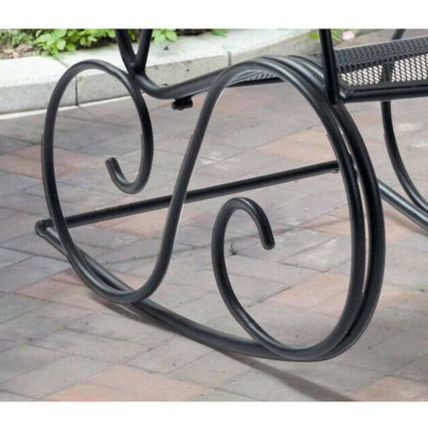 OUTDOOR ROCKING CHAIR Patio Wrought Iron Metal