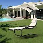Outdoor Rocking Chaise Lounge Chair Cushion w/ Canopy Shade