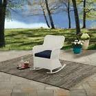 Outdoor White Wicker Rocking Chair Cushioned Patio Furniture