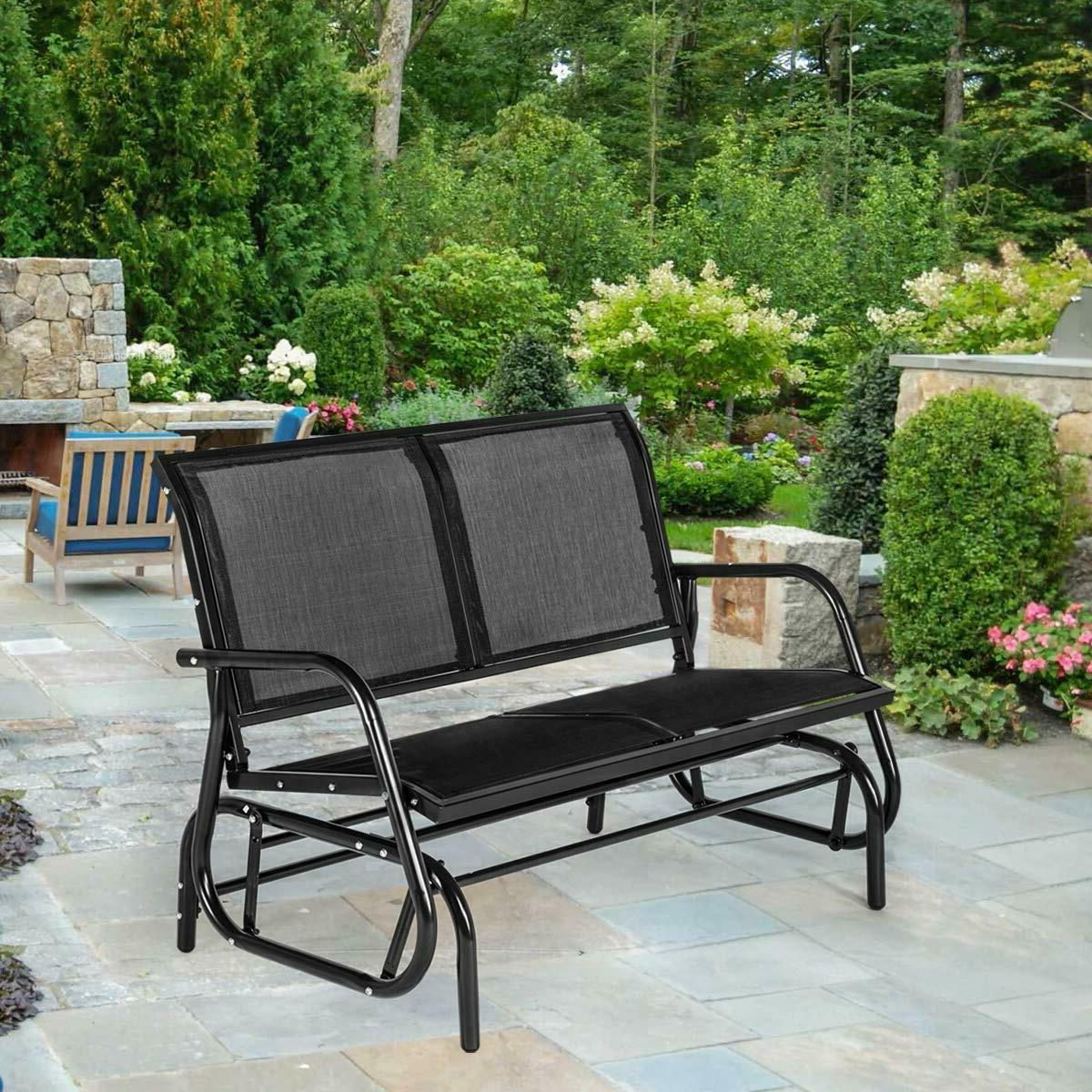 patio double glider loveseat swing rocking bench