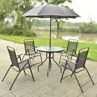 6 PCS Patio Garden Set Furniture 4 Folding Chairs Table with
