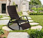 Patio Rattan Rocking Chair Indoor Outdoor Wicker Lounger Rec