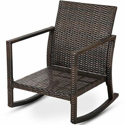 Patio Rattan Chair Rocker Armchair Outdoor Furniture W/Cushions