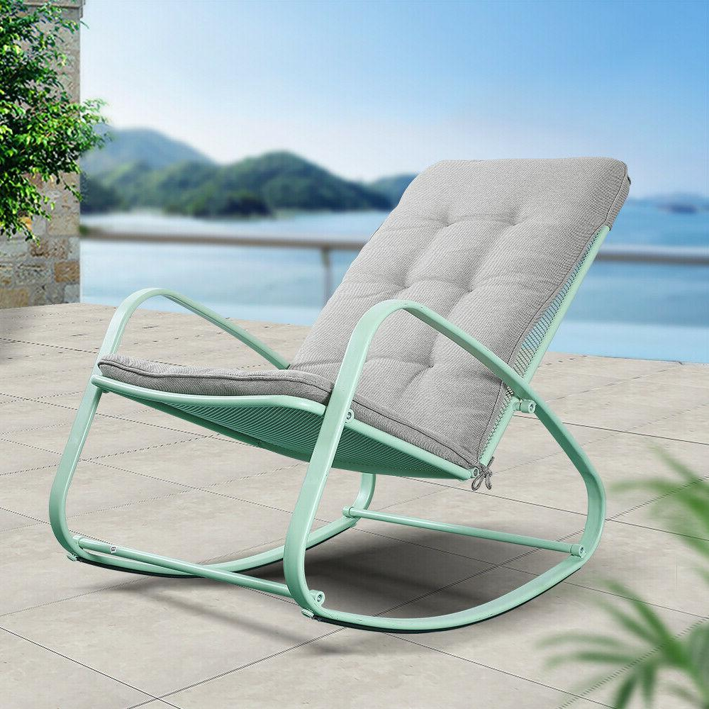 Patio Rocking Chair Outdoor Furniture Padded Home Decor US