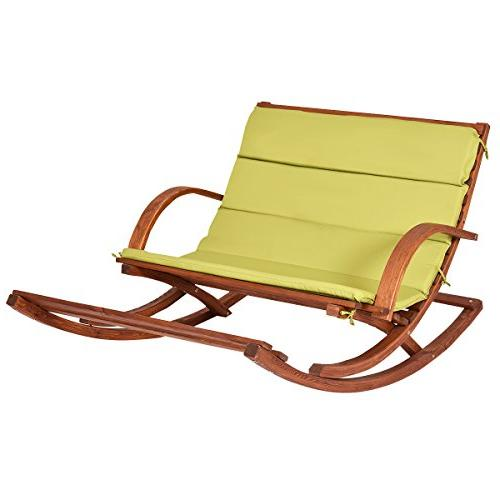 patio wood 2 person rocking