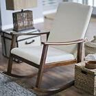 Plush Ivory White Rocking Chair Home Living Room Bedroom Sea