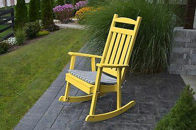poly furniture wood rocking chair lemon yellow